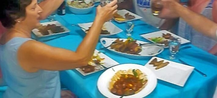 Group Dining at Villa Serenity by the sea in Ocho Rios Jamaica