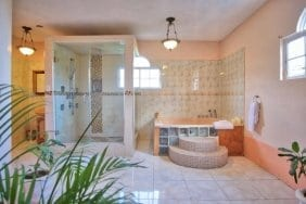 Luxurious bathroom at Jamaica Villa Serenity by the Sea in Ocho Rios Jamaica
