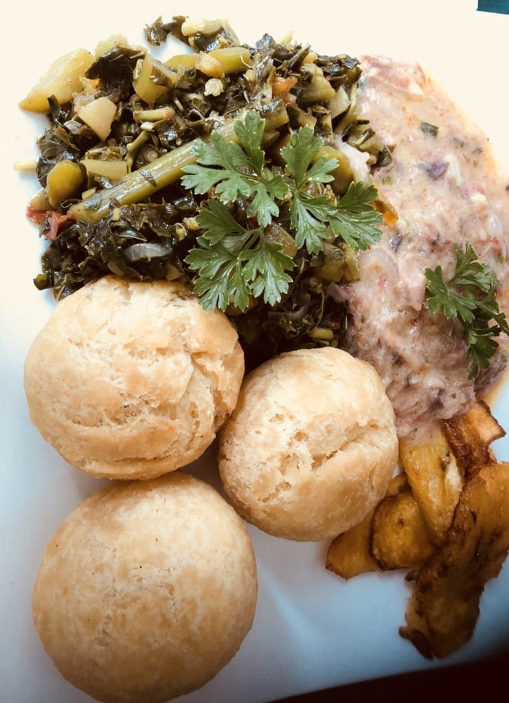 Jamaican breakfast Run down, jonny cake, plantain and calaloo