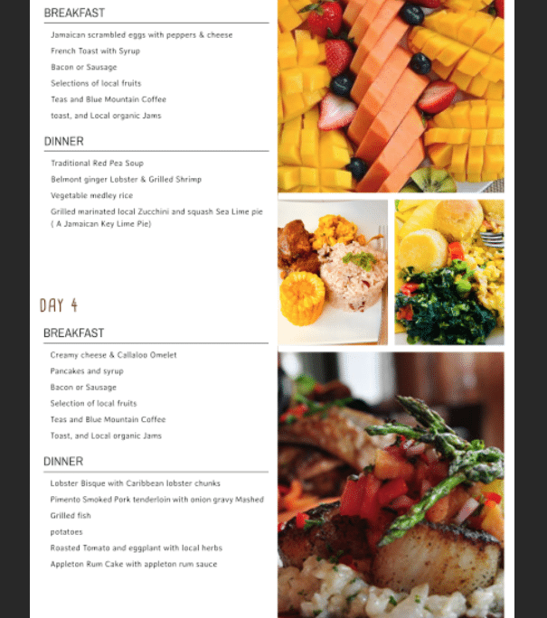 Jamaica villa all inclusive menu