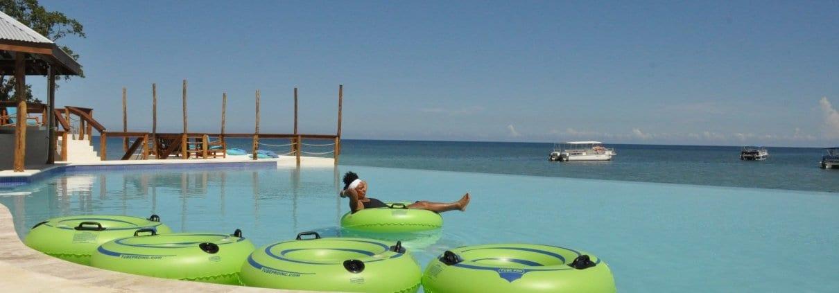 Tubing  on a Jamaica  villa vacation